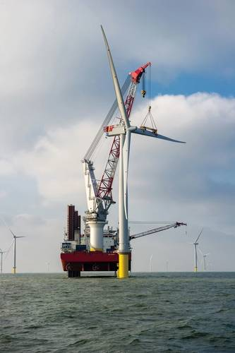 The first of 177 London Array foundations was installed in March of 2011. Turbine installation followed throughout 2012.   (Credit: London Array Limited)
