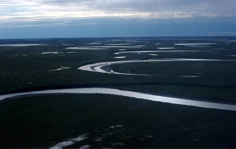Fish Creek wanders through the National Petroleum Reserve-Alaska, a 22.8 million acre region managed by the Bureau of Land Management on Alaska's North Slope. USGS has periodically assessed oil and gas resource potential there. These assessments can be found here. (Credit: David Houseknecht, USGS.)