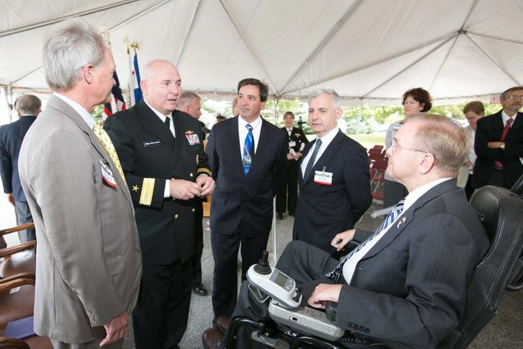 From left: RI Governor Lincoln Chafee; Rear Adm. Michael Jabaley, commander, NUWC; Mark Rodrigues, head NUWC's Platform and Payload Integration Department; RI Senator Jack Reed, and RI Congressman James Langevin.