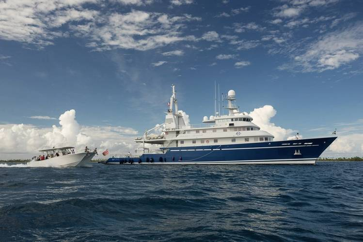M/Y Golden Shadow with dive vessel, the Calcutta. Copyright Michele Westmorland 2013