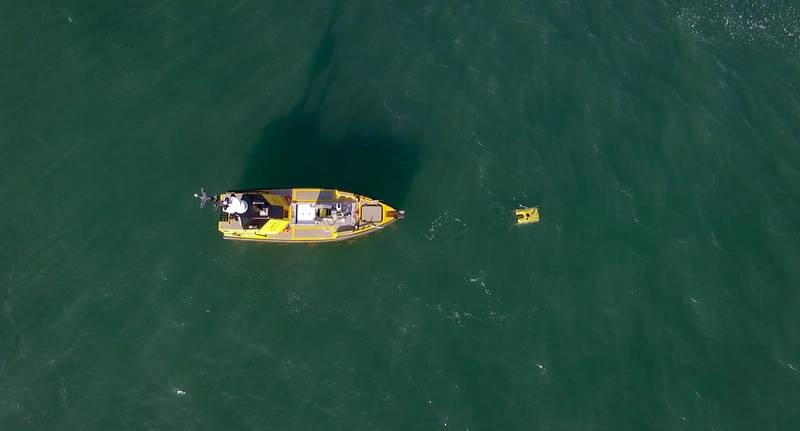 L3 Harris UK's C-Worker 7 working with an ROV off the UK's south coast. Photos from L3 Harris UK.