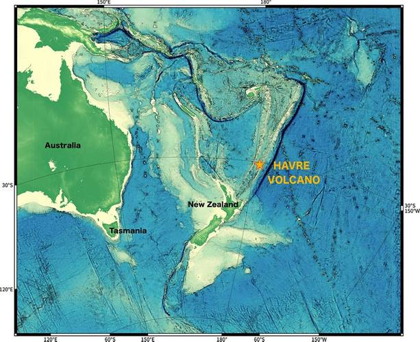 The Havre volcano is located off the coast of New Zealand in the Kermadec Region, a volcanically active and tectonically complex plate boundary system. (Image courtesy of the Sentry Group, WHOI)