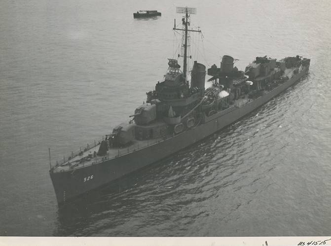 Historical image of USS Abner Read. (National Archives)