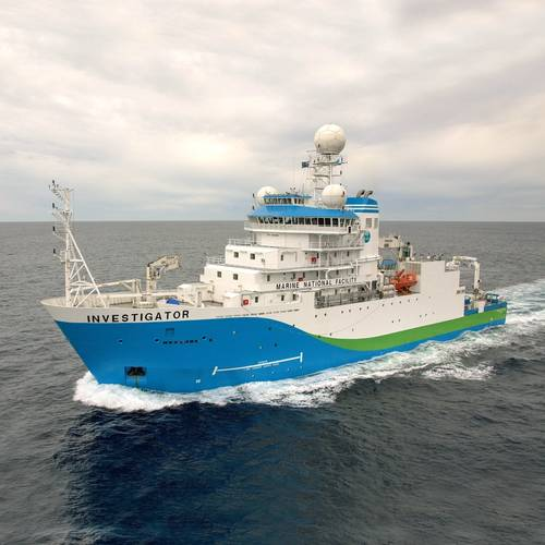 RV Investigator research vessel at sea (courtesy of CSIRO)