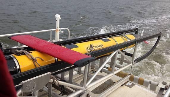 KATFISH system undergoing proof of concept sea trials using Synthetic Aperture Sonar (Photo: Kraken)