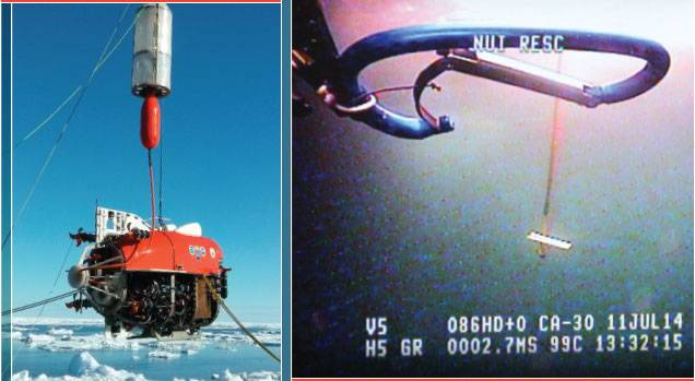 "LEFT  NUI being launched from the F/V Polarstern on NUI Dive #1 on July 21 – the first engineering dive in which the vehicle's navigation, telemetry, and control systems were tested.   RIGHT  View from the forward camera of a small ""rescue robot"" as the NUI team practiced emergency vehicle recovery procedures on July 11, 2014. Happily, no such emergencies occurred."