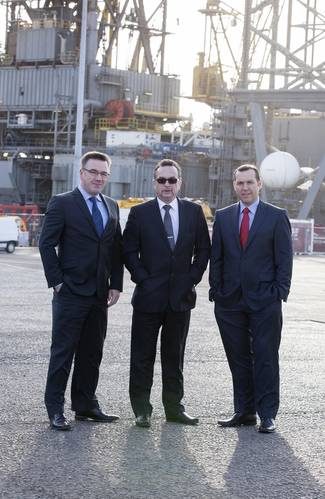 Left to right: Matt North, port manager at The Port of Dundee; Dave MacKay, executive chairman of PD&MS Energy; and Bruce Gill, managing director of Harlen.