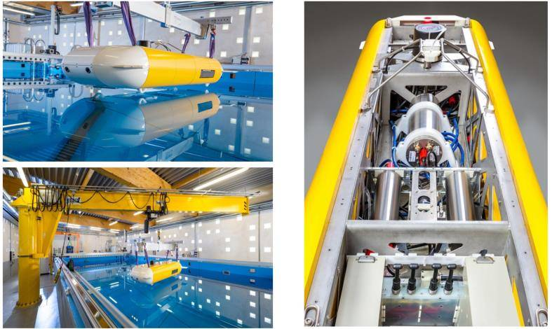 Left: the vehicle being deployed in Fraunhofer test tank, and right: internal view of the AUV (Photo: Kraken)