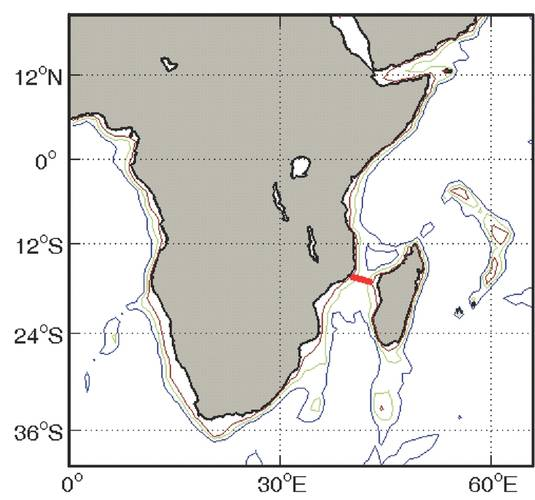 Fig. 2 - Location of LOCO moored array in Mozambique Channel. (Credit: H. Ridderinkhof (NIOZ) 2006. https://goo.gl/FrCL2b)