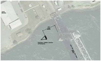 Location of where the tidal test stand will be installed (Image: MRECo)