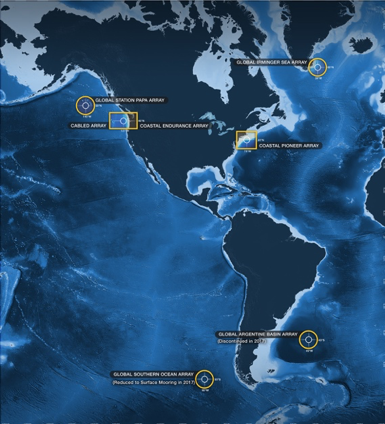 Locations of the Coastal, Global and Cabled Arrays that are part of the NSF-funded Ocean Observatories Initiative.  (Illustration by U. Washington Center for Environmental Visualization, modified by WHOI Creative)
