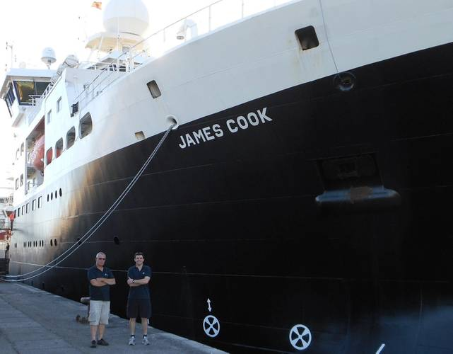The MarineE-tech program is led by the National Oceanography Center (NOC) using the RRS James Cook.  Jon Taylor and Neil Crossouard, HR Wallingford scientists, who are taking part in the MarineE-tech research expedition. (Photo: NOC)