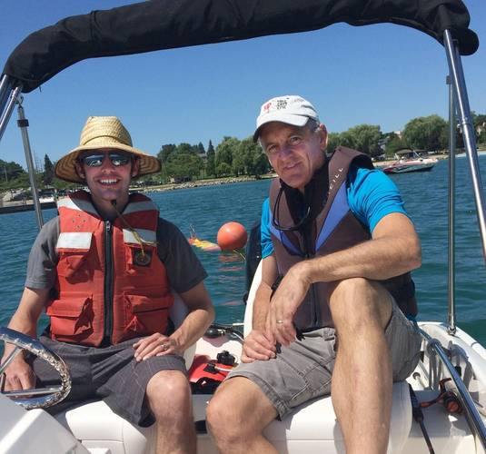 MBARI engineers Brian Kieft and Brett Hobson on board the US Geological Survey vessel during operations using the Tethys LRAUV in the southern portion of Lake Michigan. (Courtesy US Geological Survey)