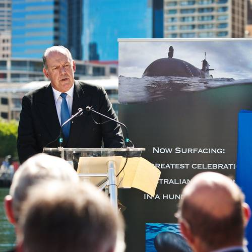 Minister of Defense, the Hon David Johnston MP addresses guests and media during the Centenary of Submarines media launch, at the Australian National Maritime Museum, Sydney. (Photo: Jesse Rhynard)