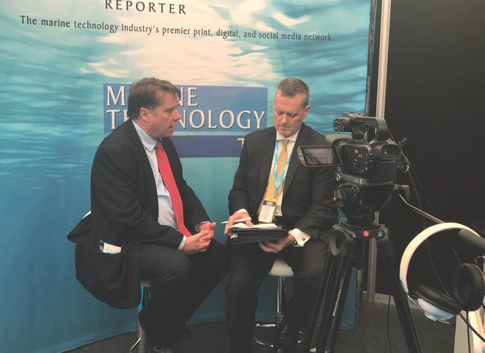 MTR's Greg Trauthwein was able to sit down with Professor Ed Hill, NOC Executive Director, At the National Oceanography Center in Southampton, U.K. for Ocean Business 2017. (Photo: NOC)
