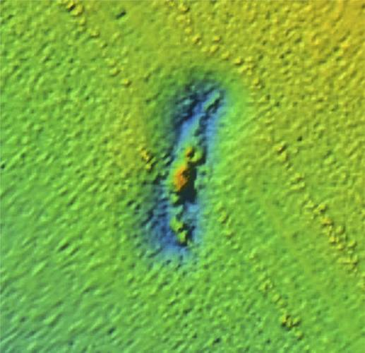 Multibeam sonar image processed by Gary Fabian show the shipwreck USCG Cutter McCulloch. The survey was conducted in 2015 off Ocean Exploration Trust's vessel E/V Nautilus for NOAA's Office of National Marine Sanctuaries. (Photo: E/V Nautilus Multibeam Sonar Survey 2015)