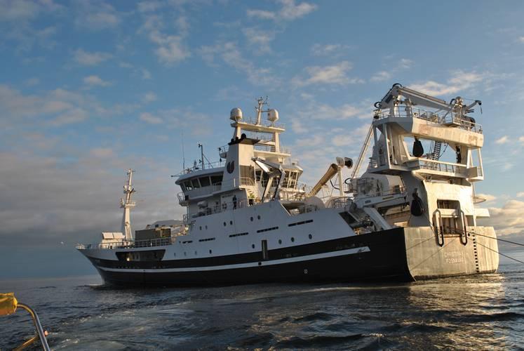 Multi-Purpose: The Christina E tows an EM seismic cable.