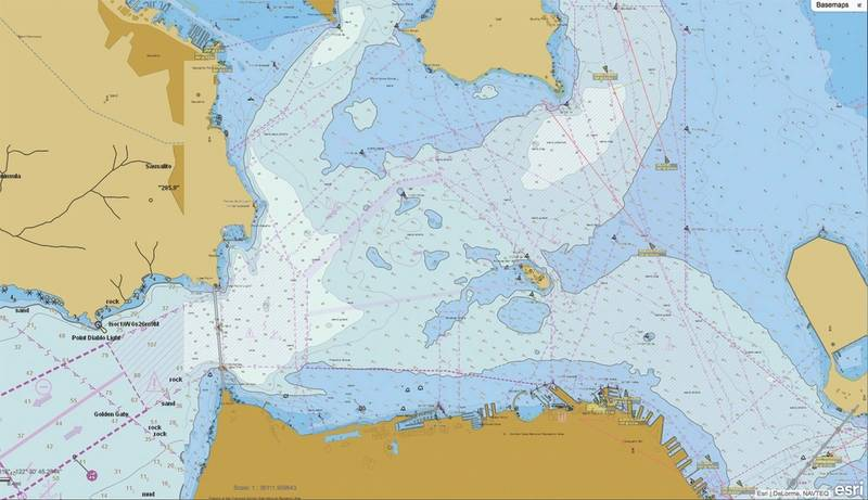 Navigational Chart: Integrated data is processed to create useful maritime resources like navigational charts (Image: ESRI)