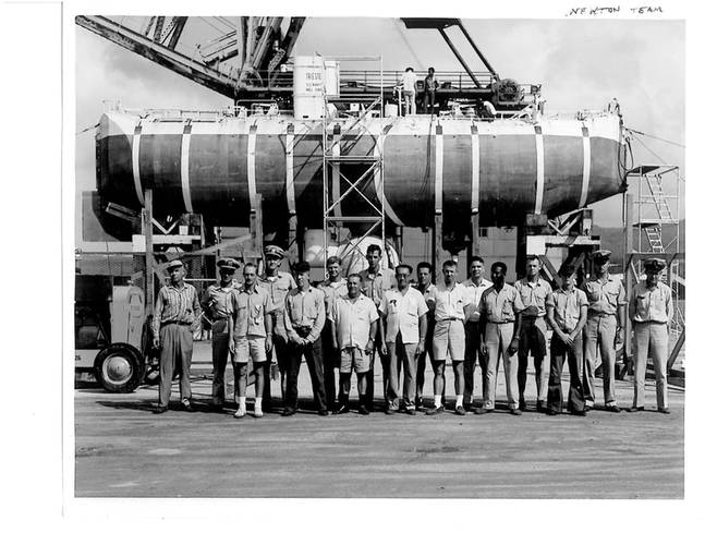 The U.S. Navy's Trieste Team for Project Nekton at the Island of Guam November 1959.  There were just 20 of us, a mix of Navy uniformed and civilian personnel from the U.S. Navy Electronics Laboratory, San Diego CA.  Photo Courtesy Don Walsh