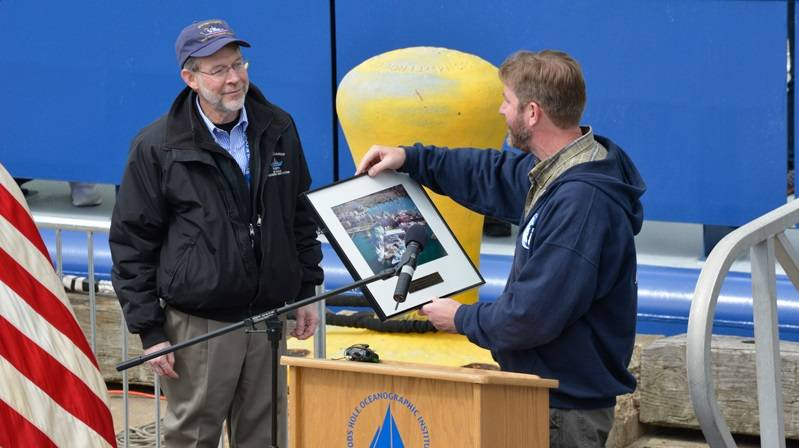 """Neil would love this,"" Carol Armstrong said of her husband, ""because Neil was Navy. That's where he started and that's where his heart was."" (Photo by Tom Kleindinst, WHOI)"