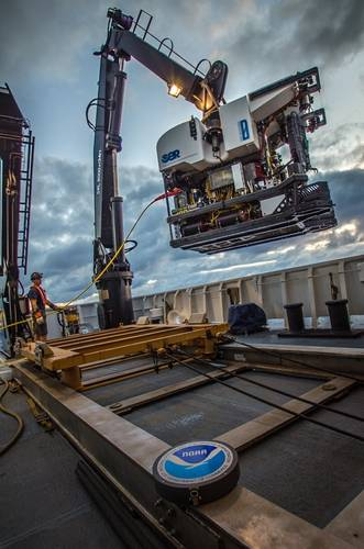 NOAA's remotely operated vehicle Deep Discoverer is recovered on NOAA Ship Okeanos Explorer following a dive exploring the Musicians Seamounts in the Pacific.