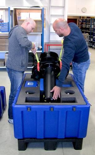 Nortek employees at Rud, Norway, as they prepare the Signature55 long range profiling instrument for shipment. (Photo: Nortek)
