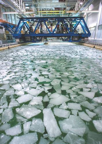 NRC's ice tank in St. John's, Newfoundland and Labrador, is one of the largest facilities of its type in the world. With temperatures ranging down to -25 °C, this tow-tank facility simulates realistic northern marine conditions growing ice to a maximum thickness of 200 mm. (Photo: National Research Council of Canada)