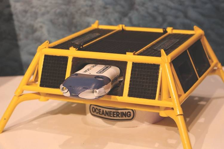 Oceaneering's Freedom concept, displayed in 3D-printed model form at the Subsea Valley conference in Oslo. (Photo: Elaine Maslin)