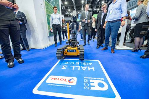 OGRIP: The Oil & Gas Technology Centre is working with companies on the Offshore Ground Robotics Industrial Pilot (OGRIP) prototype, which is now what it calls the world's first Offshore Work Class Robot (OWCR), shown here at SPE Offshore Europe last year. Photo from SPE Offshore Europe.