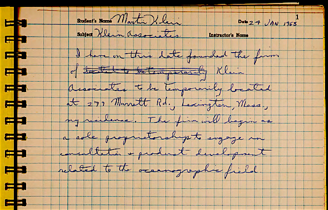 A page from Martin Klein's Laboratory Notebook noting the founding of Klein Associates. (courtesy Martin Klein and the MIT Museum)