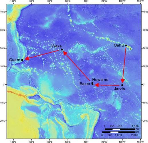Path for NOAA's expedition. (Map: NOAA Fisheries/Tomoko Acoba)