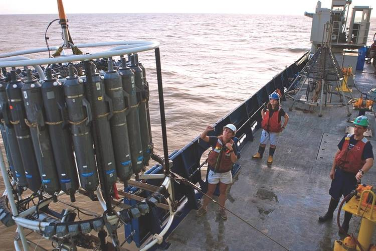 Patricia Yager from the University of Georgia oversees the deployment of a CTD Rosette sampler on board the RV Atlantis (Photo: Lance Willis)