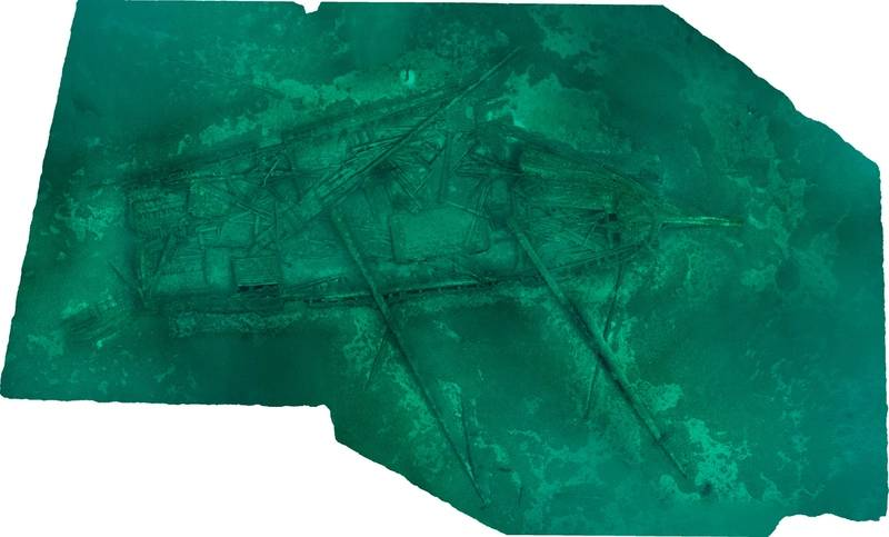 Plan view of the 3D model of schooner Northwestern, which sank in 1850, collected by Thunder Bay National Marine Sanctuary researchers in 2015. The model was generated through a process called photogrammetry, whereby numerous individual, overlapping single images are used to create a scaled, georeferenced model. (Image courtesy of Thunder Bay National Marine Sanctuary, NOAA)