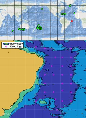 The planned Deep Argo float deployments in the Atlantic east of Brazil (bottom, and red dot, top) will expand the nascent global Deep Argo array (top). (Image: NOAA)