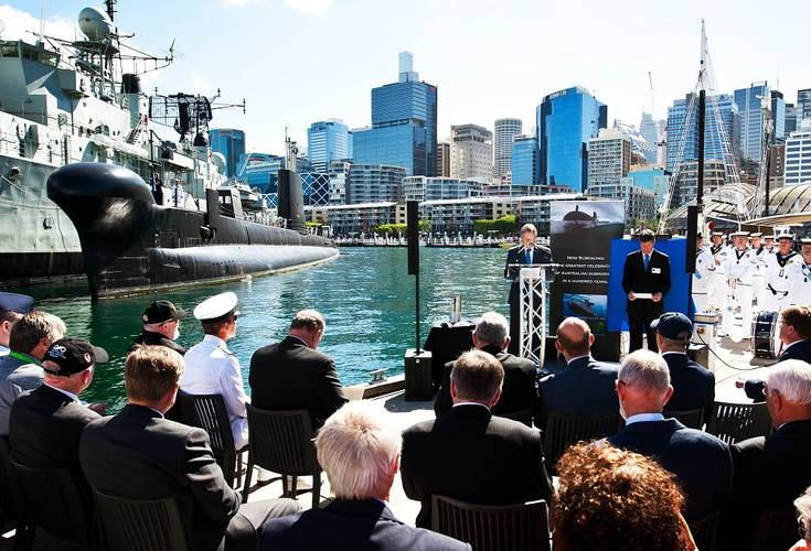 President of the Submarine Institute Australia, Peter Horobin addresses guests and media. (Photo: Jesse Rhynard)