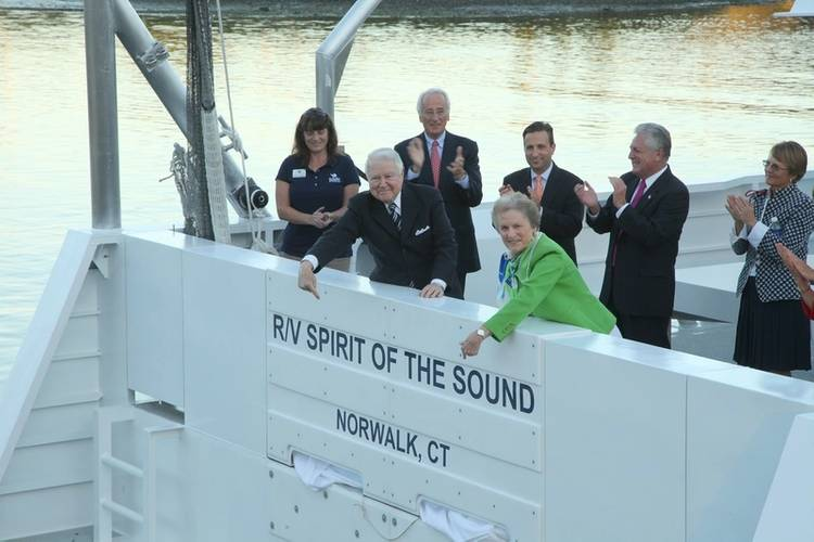 Principal donors for new research vessel that will conduct Marine Life Study cruises, Seal Spotting cruises and more for The Maritime Aquarium at Norwalk. From left: Cathy Hagadorn, educator; George Bauer, donor; Per Heidenreich, donor, State Senator Robert Duff; Carol Bauer, donor; Norwalk Mayor Harry Rilling; and Astrid Heidenreich, donor. (Photo courtesy of the Maritime Aquarium at Norwalk)