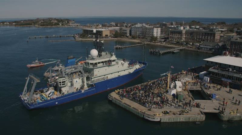 The research vessel Neil Armstrong was met by a jubilant crowd at the WHOI dock Wednesday, as it arrived to its homeport for the first time. (Photo by Daniel Cojanu, WHOI)