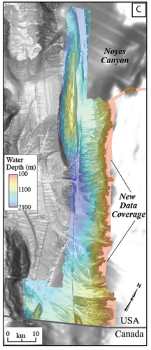 Researchers aboard NOAA Ship Fairweather collected multibeam bathymetric data in an area along the U.S. and Canadian international border in water depths ranging from 500 to more than 7,000 feet deep from April through July (USGS)