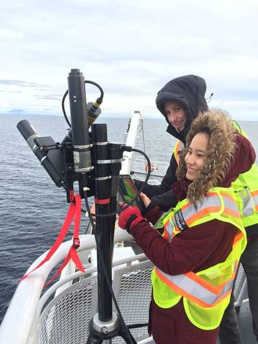 Researchers use tablet technology to gather marine data from a passenger ferry on the Salish Sea. The MEOPAR network and Irving Shipbuilding announced $1.8 million in funding to support nine ocean research initiatives, including three projects exploring marine issues off the coast of British Columbia. (Photo: Irving Shipbuilding)