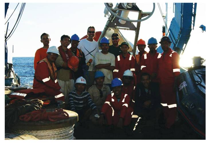 Rick Cole (RDSEA), Patrick Berk (PMEL) rear, center, and the BPPT, KKP Team on Baruna Jaya III, Indian Ocean, RAMA.