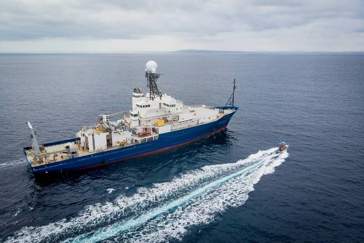 The R/V Roger Revelle pictured at sea for a 10-day commissioning and calibration cruise following its midlife refit. Photo Copyright: Scripps Institution of Oceanography
