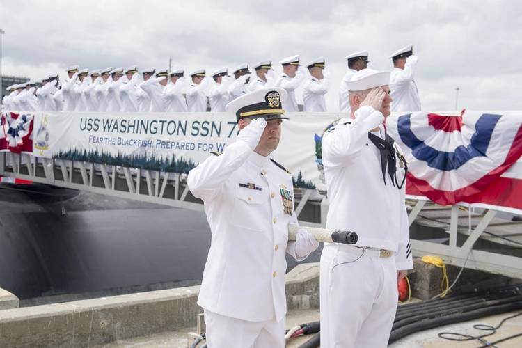 Sailors render a salute during the commissioning ceremony for the Virginia Class Submarine USS Washington (SSN 787) at Naval Station Norfolk. (U.S. Navy photo by Class Joshua M. Tolbert)