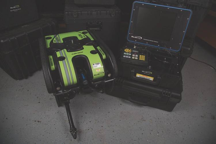SeaBotix vLBV300 remotely operated vehicle. Used to test navigation and control algorithms. (Credit: Dylan Jones)
