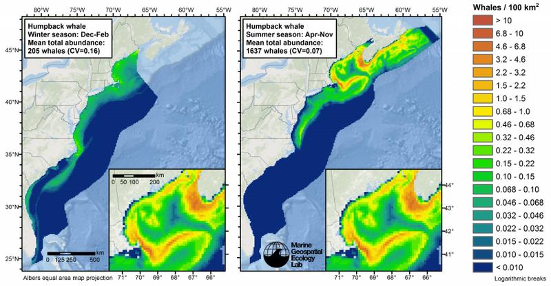 Seasonal density of humpback whales (Credit: Duke MGEL)