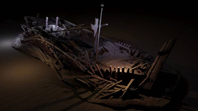 A shipwreck from the Ottoman period discovered in 300m of water. Many of its timbers are carved. This image is a photogrammetric model created from photographs taken by cameras on the ROV, rendered with light sources (model Rodrigo Pacheco-Ruiz). ©Black Sea Maritime Archaeology Project