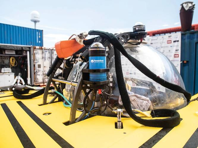 One of Sonarydne's BlueComm units attached to one of the Nekton mission submersibles.  Photo: Nekton Oxford Deep Ocean Research Institute