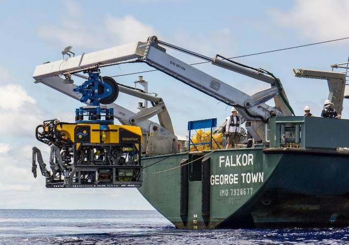 ROV SuBastian is deployed off of the aft deck of research vessel Falkor (Photo Schmidt Ocean Institute)
