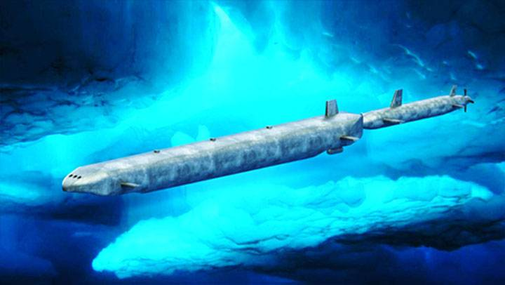 A submarine cargo system shows the cargo submarine being pushed by a nuclear powered submarine. It is using the propulsion and electrical power generated by the submarine's nuclear energy. The cargo submarine can travel under its own diesel/electric power when conditions are suitable. (Image: Novan Research)