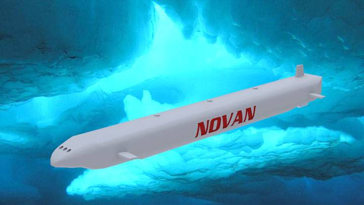 The submarine cargo transportation system is designed to transport LNG beneath the Arctic Ocean's ice cap and elsewhere. It only has to be submerged deep enough to avoid striking the ice above. Since the sea ice cap is not that thick the sub only has to be strong enough to withstand relatively low depth pressure. (Image: Novan Research)