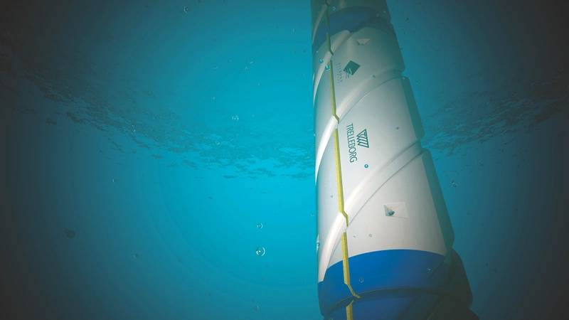 Subsea View of Inverted Helical Grooves on Drill Riser Buoyancy (Image: Trelleborg)